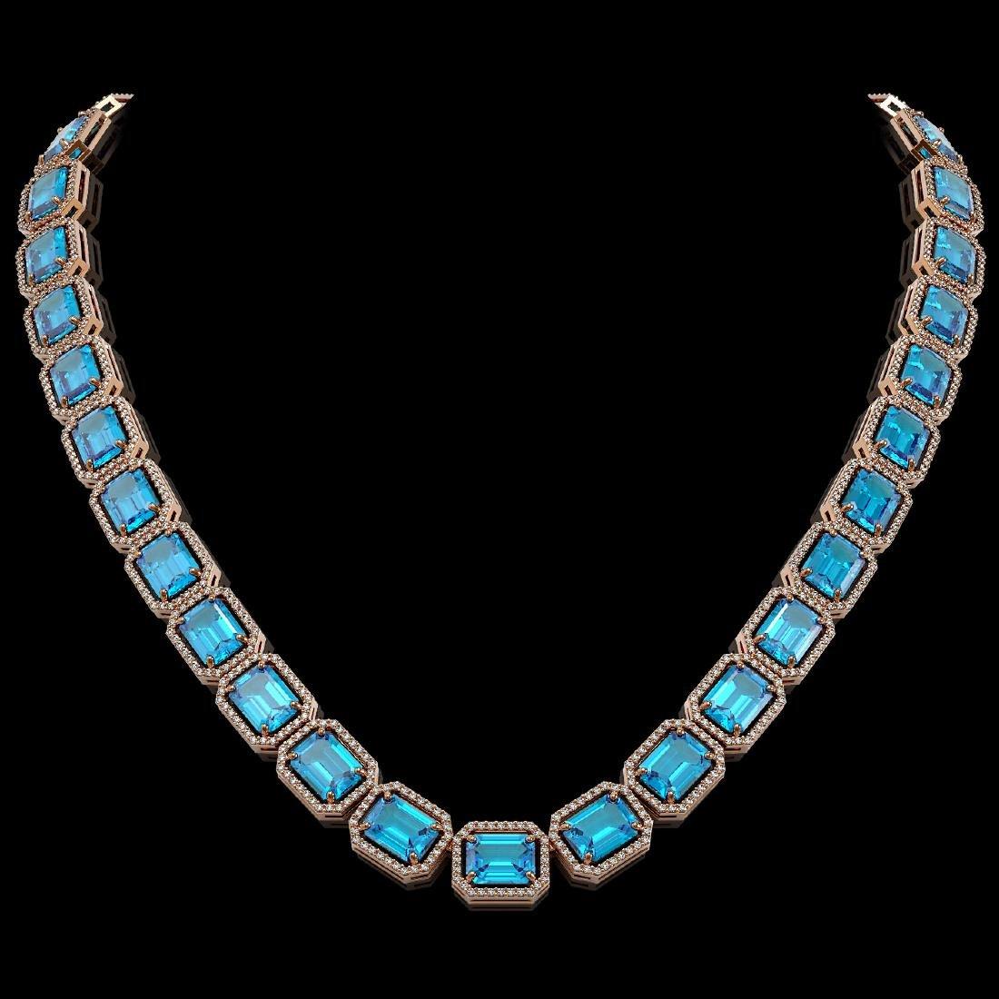 79.01 CTW Swiss Topaz & Diamond Halo Necklace 10K Rose