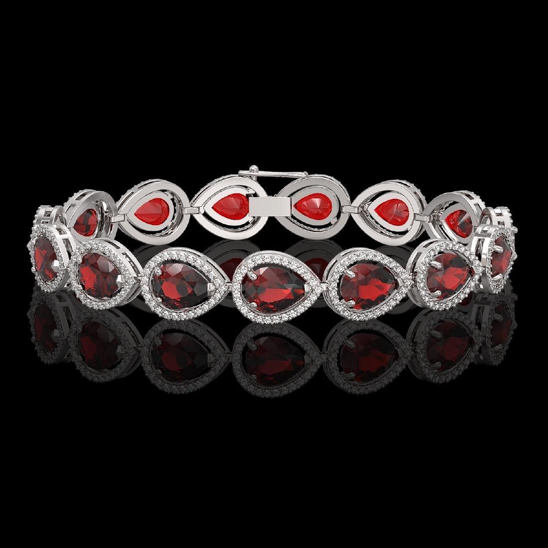 17.45 CTW Garnet & Diamond Halo Bracelet 10K White Gold