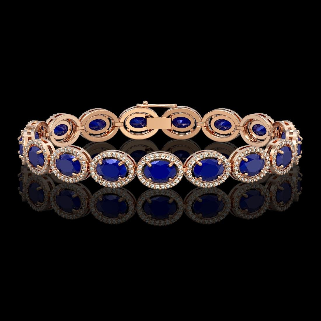 22.89 CTW Sapphire & Diamond Halo Bracelet 10K Rose