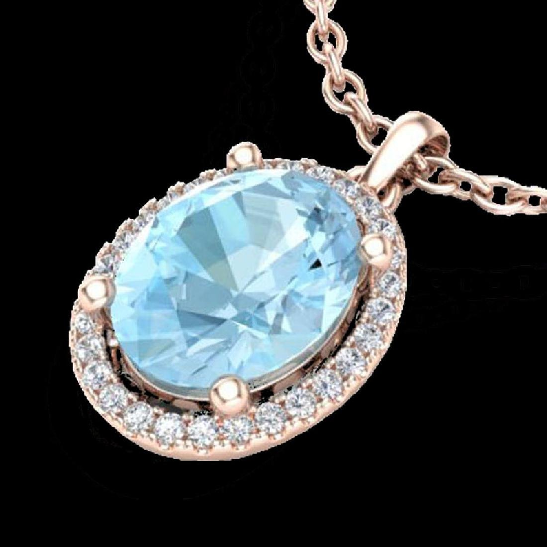 2.50 CTW Aquamarine & Micro VS/SI Diamond Necklace Halo