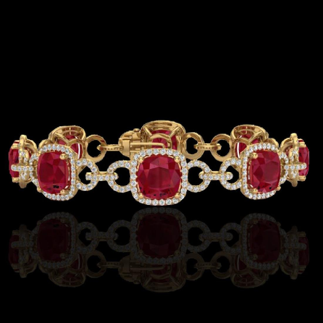 25 CTW Ruby & Micro VS/SI Diamond Bracelet 14K Yellow