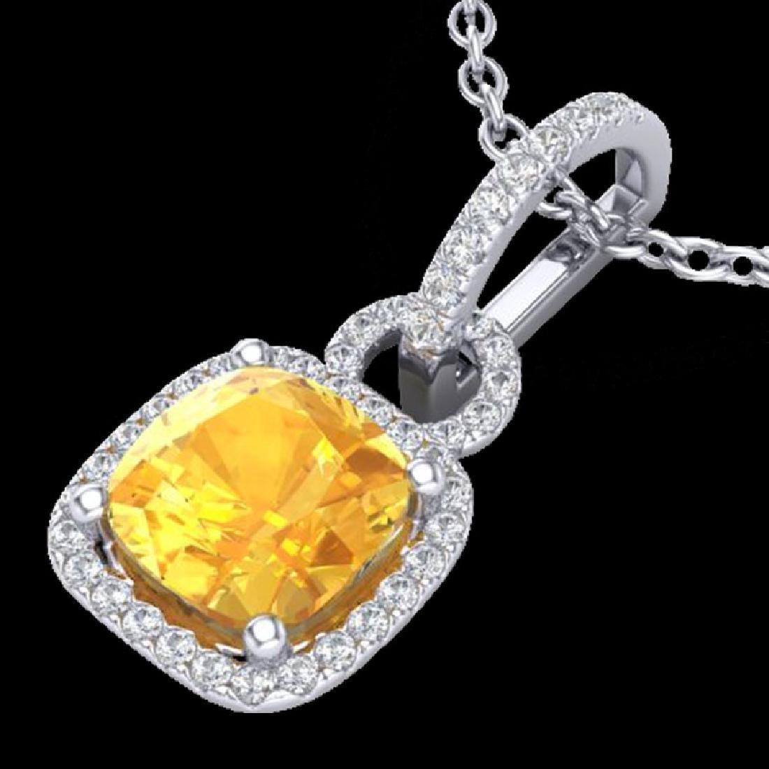 3.50 CTW Citrine & Micro VS/SI Diamond Necklace 18K