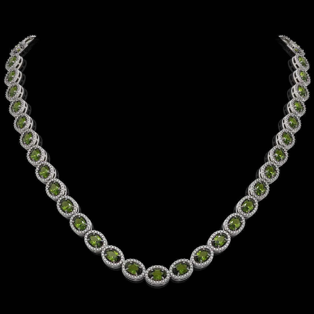 31.1 CTW Tourmaline & Diamond Halo Necklace 10K White