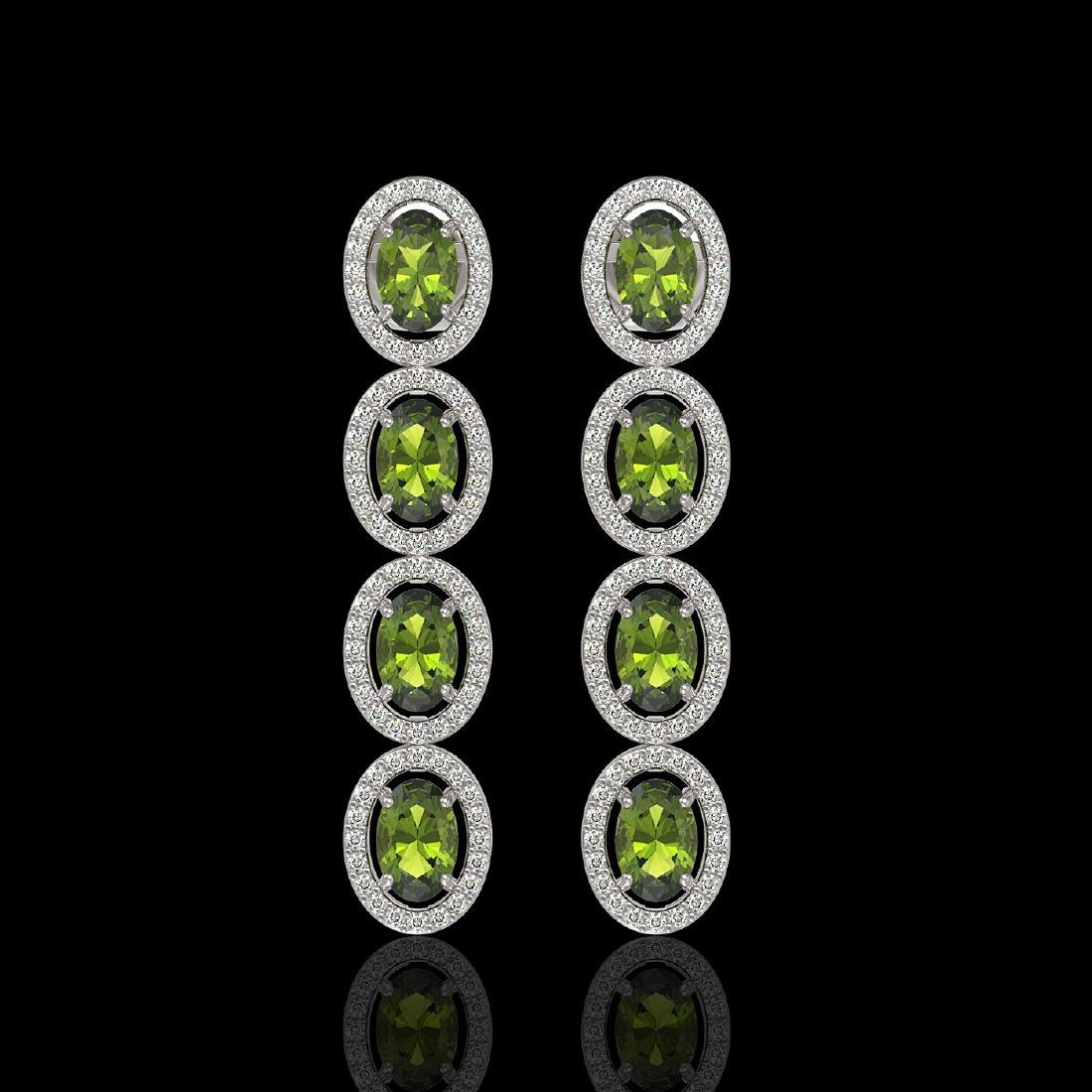 5.88 CTW Tourmaline & Diamond Halo Earrings 10K White