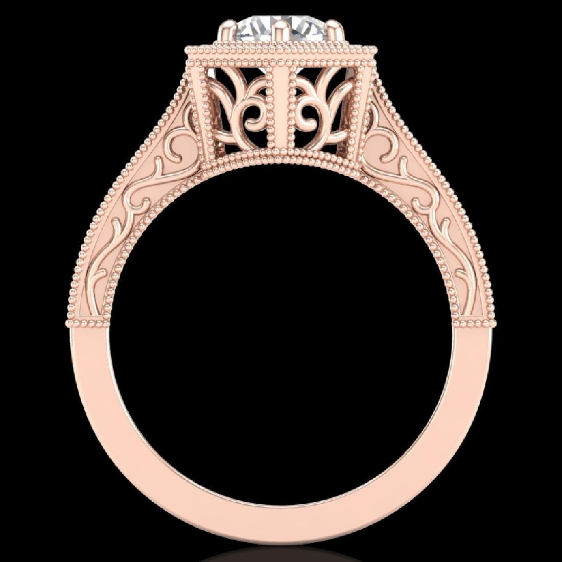 0.77 CTW VS/SI Diamond Solitaire Art Deco Ring 18K Rose