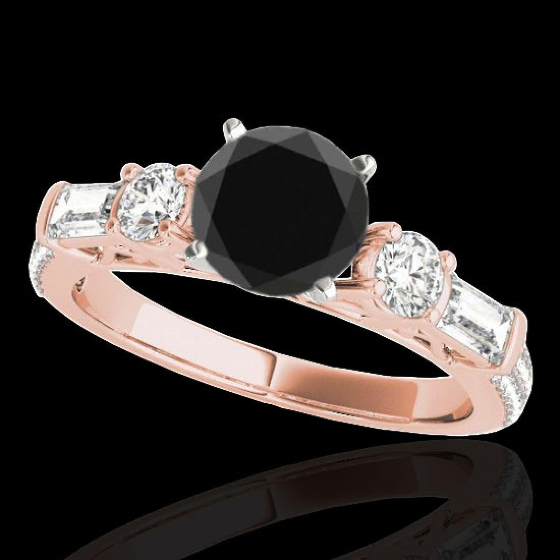 2.5 CTW Certified VS Black Diamond Pave Solitaire Ring