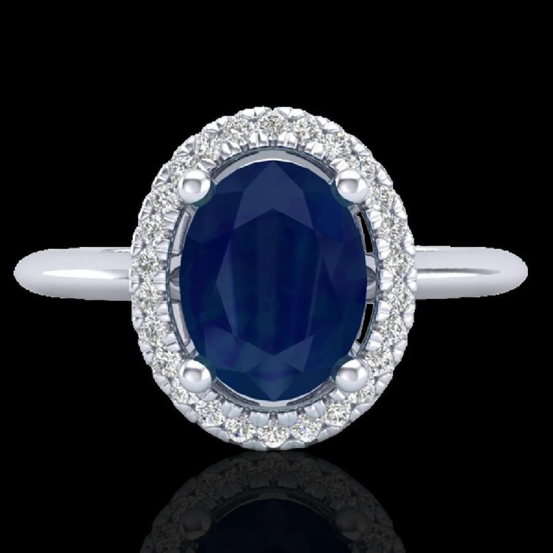 2 CTW Sapphire & Micro Pave VS/SI Diamond Ring