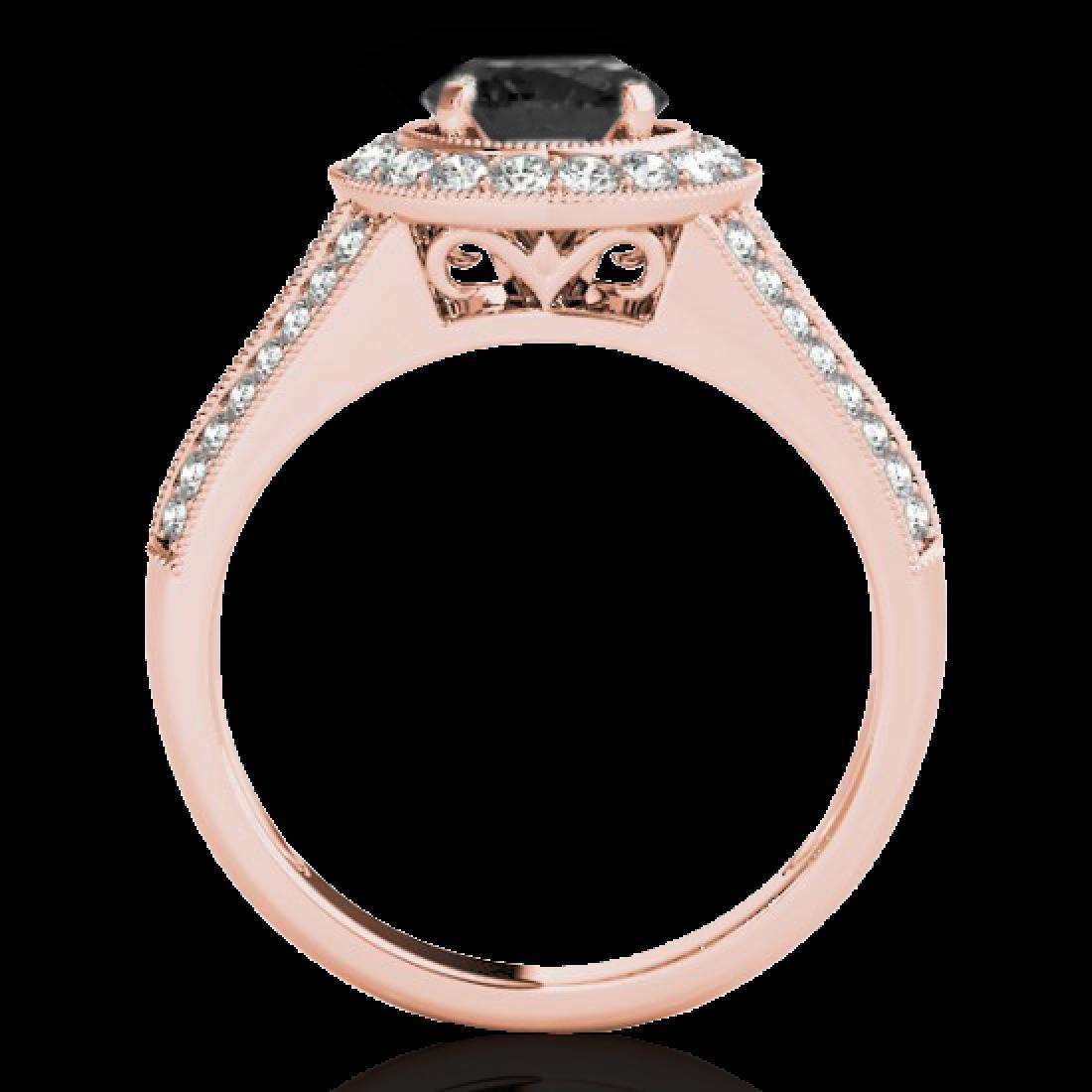 1.7 CTW Certified VS Black Diamond Solitaire Halo Ring - 2