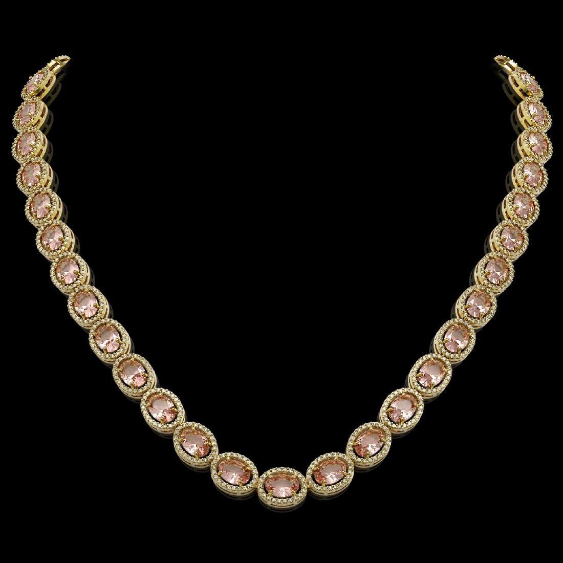45.98 CTW Morganite & Diamond Halo Necklace 10K Yellow