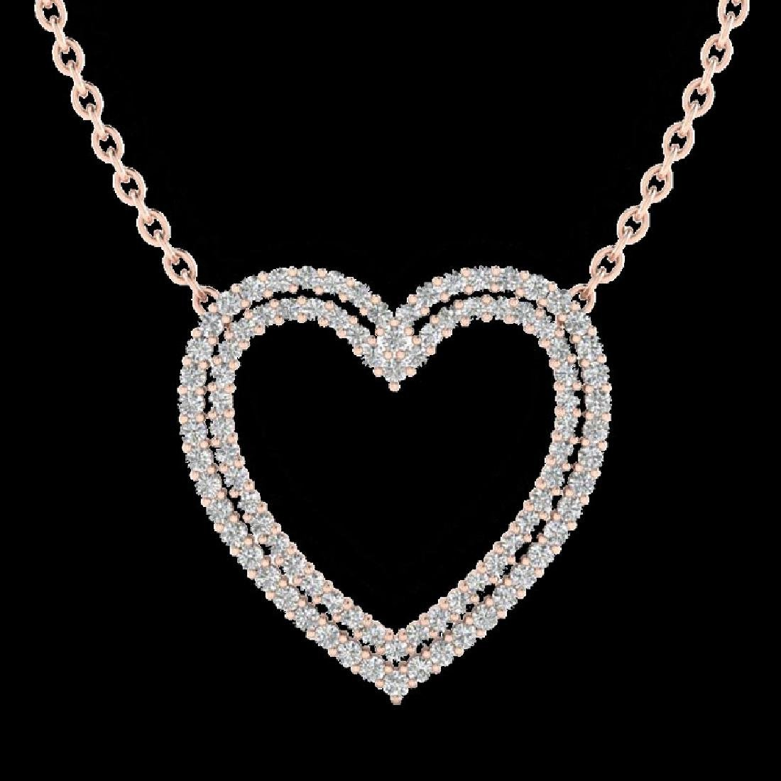 2 CTW VS/SI Diamond Double Heart Halo Designer Necklace