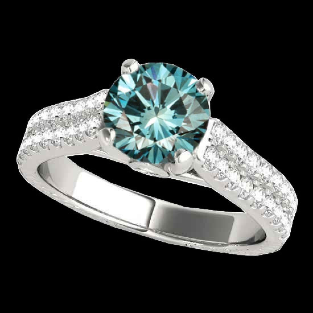 1.61 CTW SI Certified Fancy Blue Diamond Pave Ring 10K
