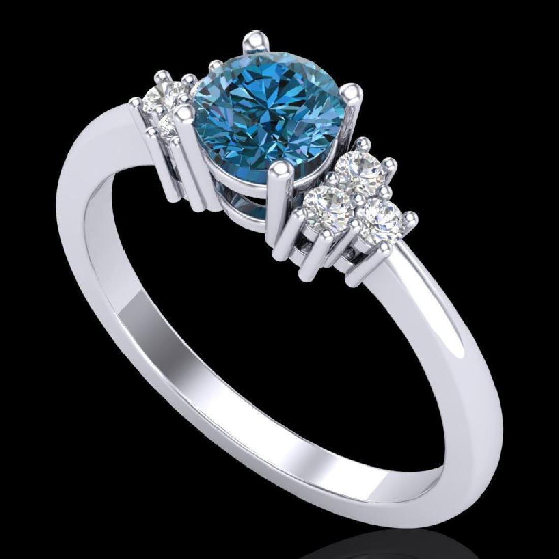 0.75 CTW Fancy Intense Blue Diamond Engagement Classic