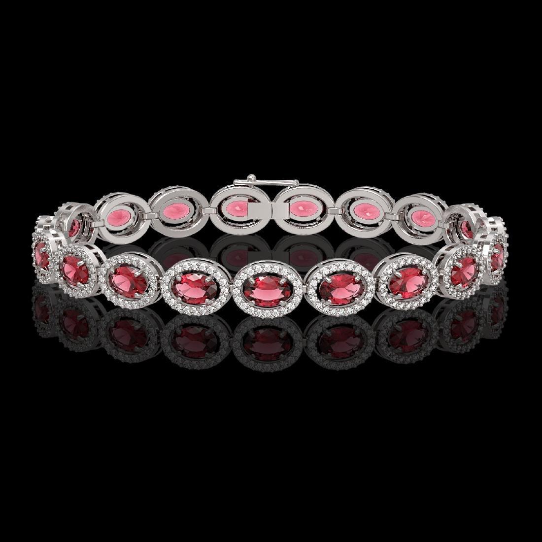 13.87 CTW Tourmaline & Diamond Halo Bracelet 10K White