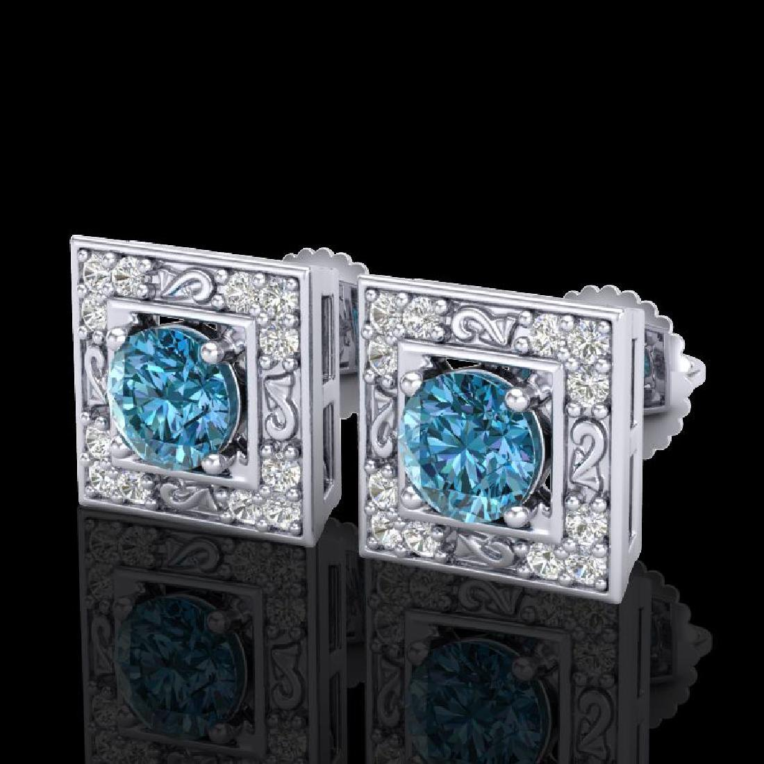 1.63 CTW Fancy Intense Blue Diamond Art Deco Stud