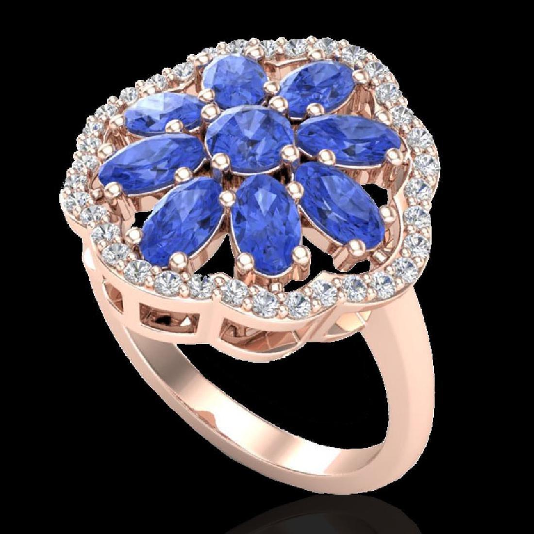 3 CTW Tanzanite & VS/SI Diamond Cluster Designer Halo
