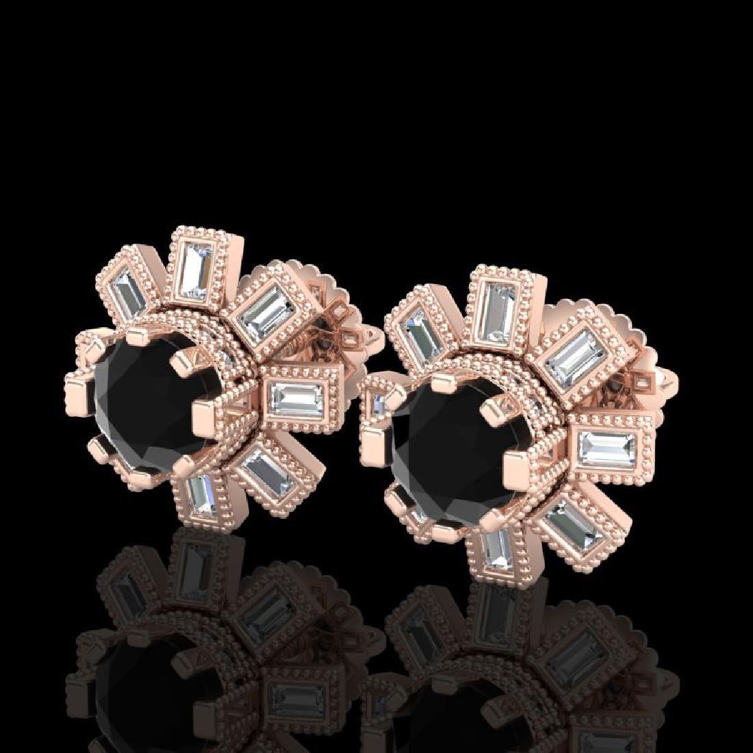 1.77 CTW Fancy Black Diamond Solitaire Art Deco Stud
