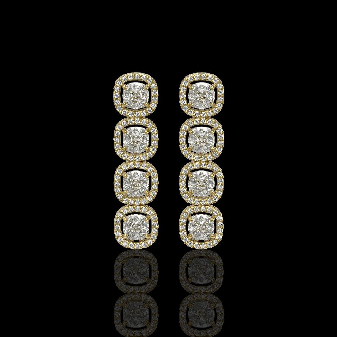 5.28 CTW Cushion Diamond Designer Earrings 18K Yellow