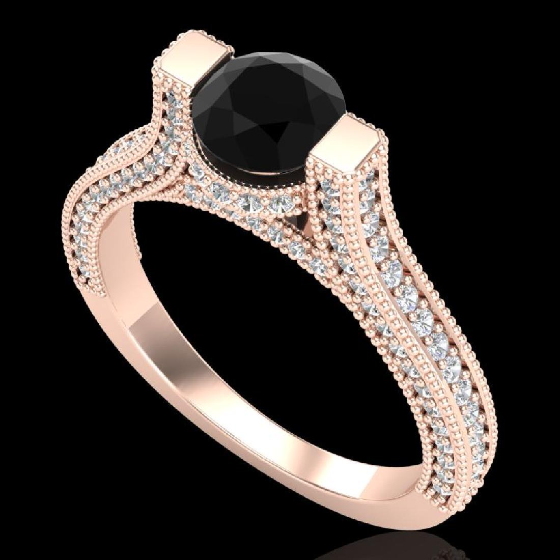 2 CTW Fancy Black Diamond Solitaire Engagement Micro