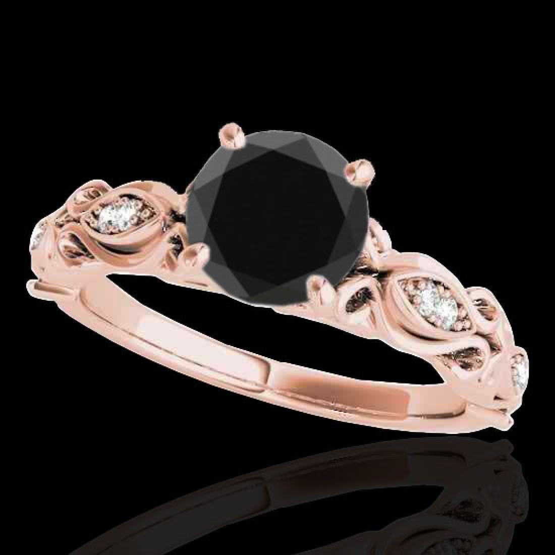 1.1 CTW Certified VS Black Diamond Solitaire Antique