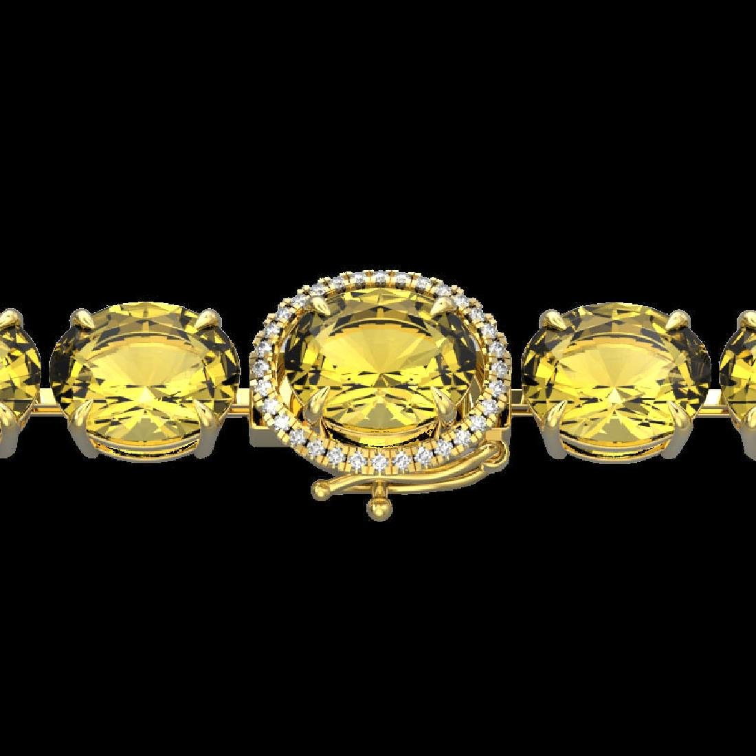 78 CTW Citrine & Micro Pave VS/SI Diamond Halo Bracelet