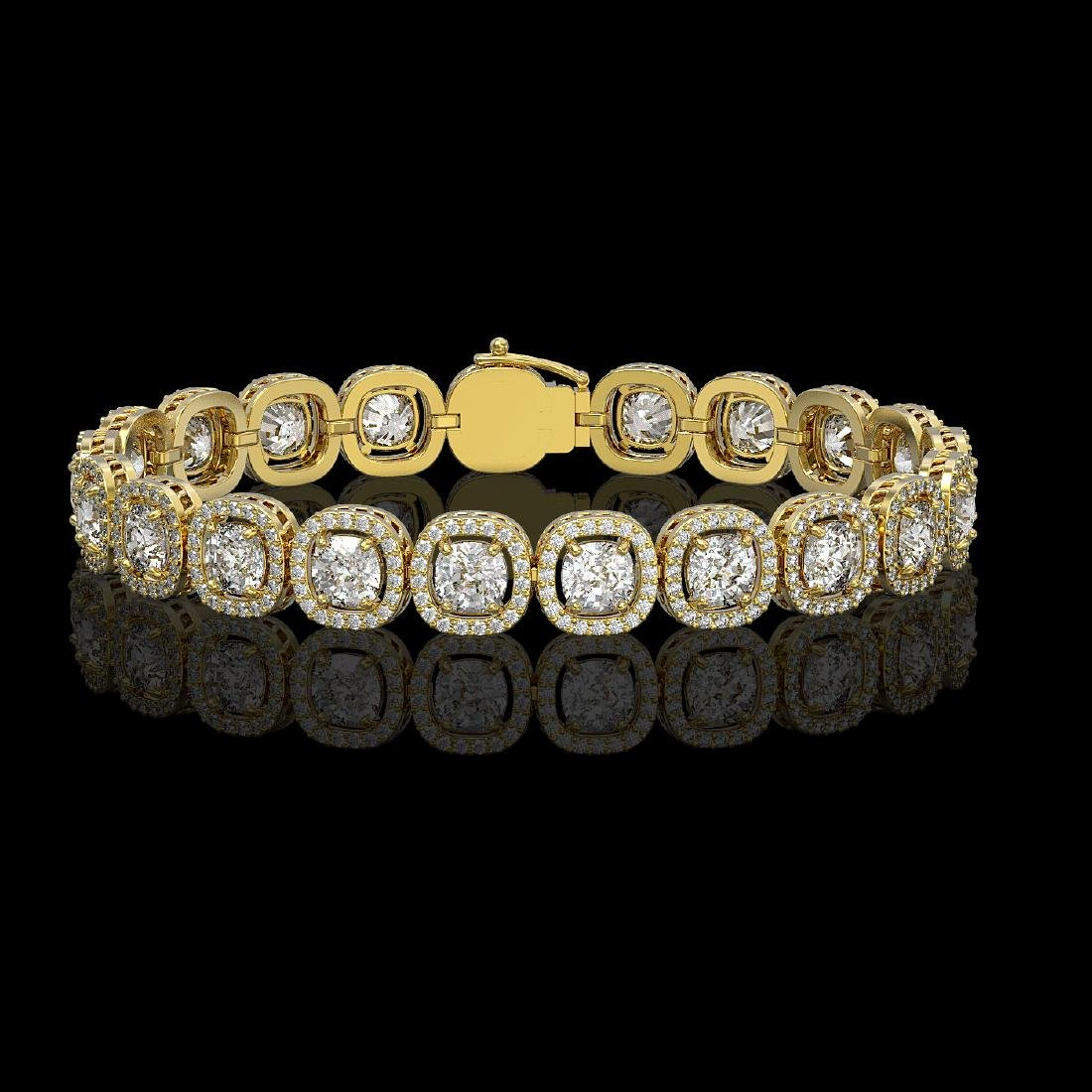 14.41 CTW Cushion Diamond Designer Bracelet 18K Yellow
