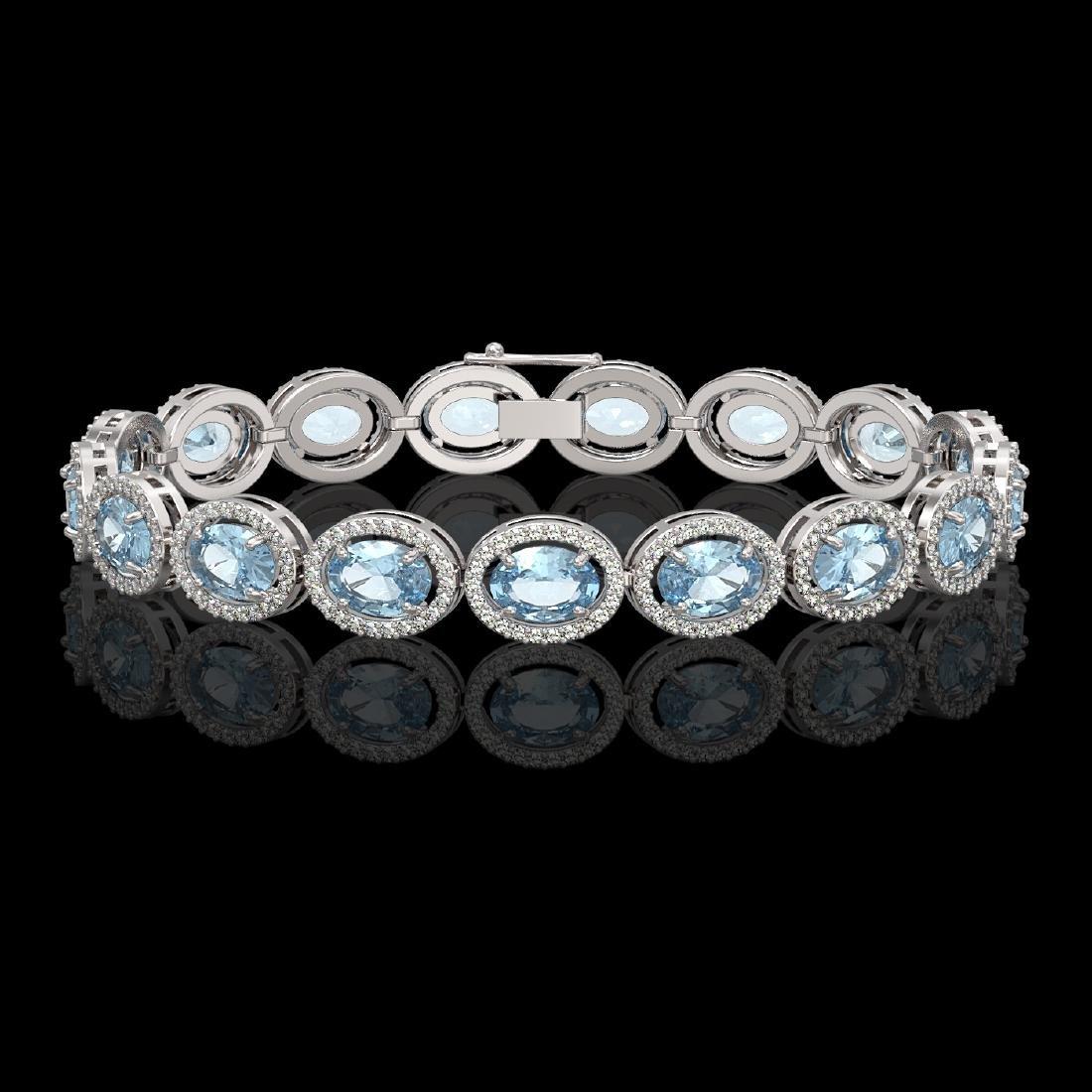 18.38 CTW Aquamarine & Diamond Halo Bracelet 10K White