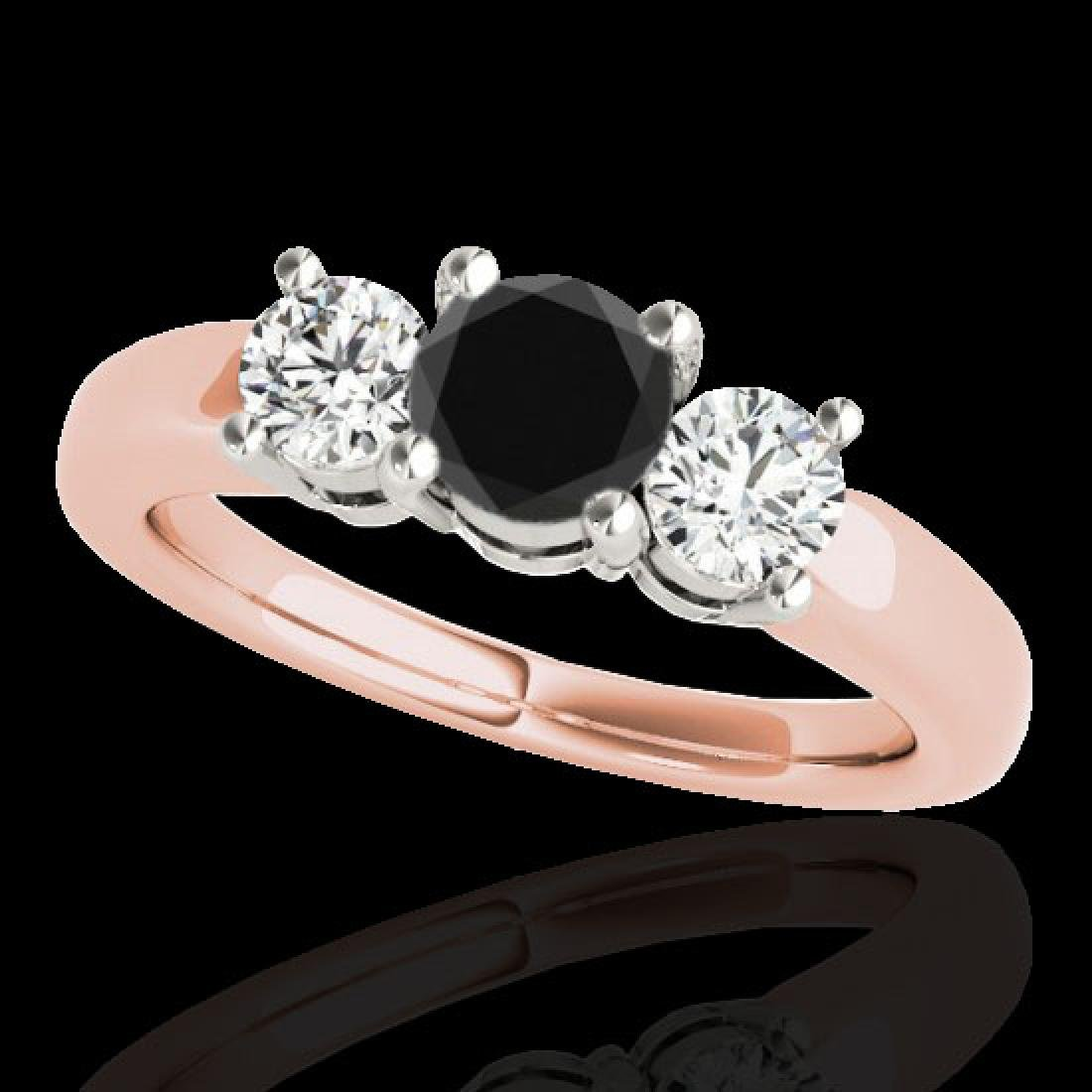 2 CTW Certified VS Black Diamond 3 Stone Solitaire Ring