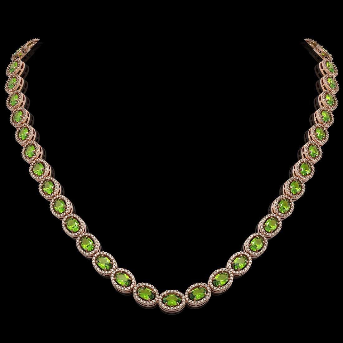 31.1 CTW Peridot & Diamond Halo Necklace 10K Rose Gold