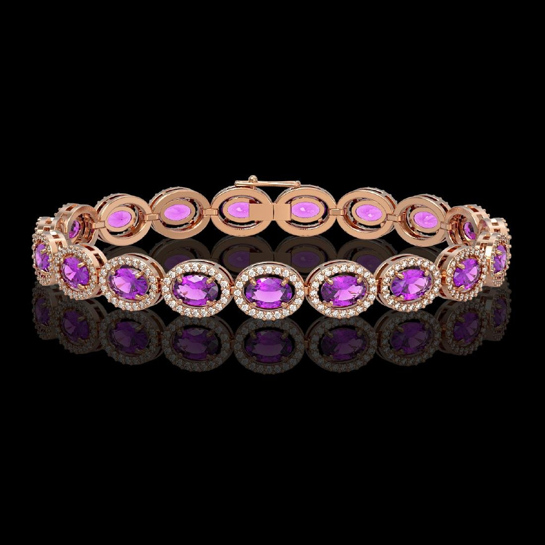 13.11 CTW Amethyst & Diamond Halo Bracelet 10K Rose