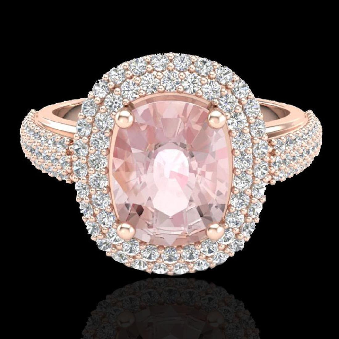 3.25 CTW Morganite & Micro Pave VS/SI Diamond Halo Ring