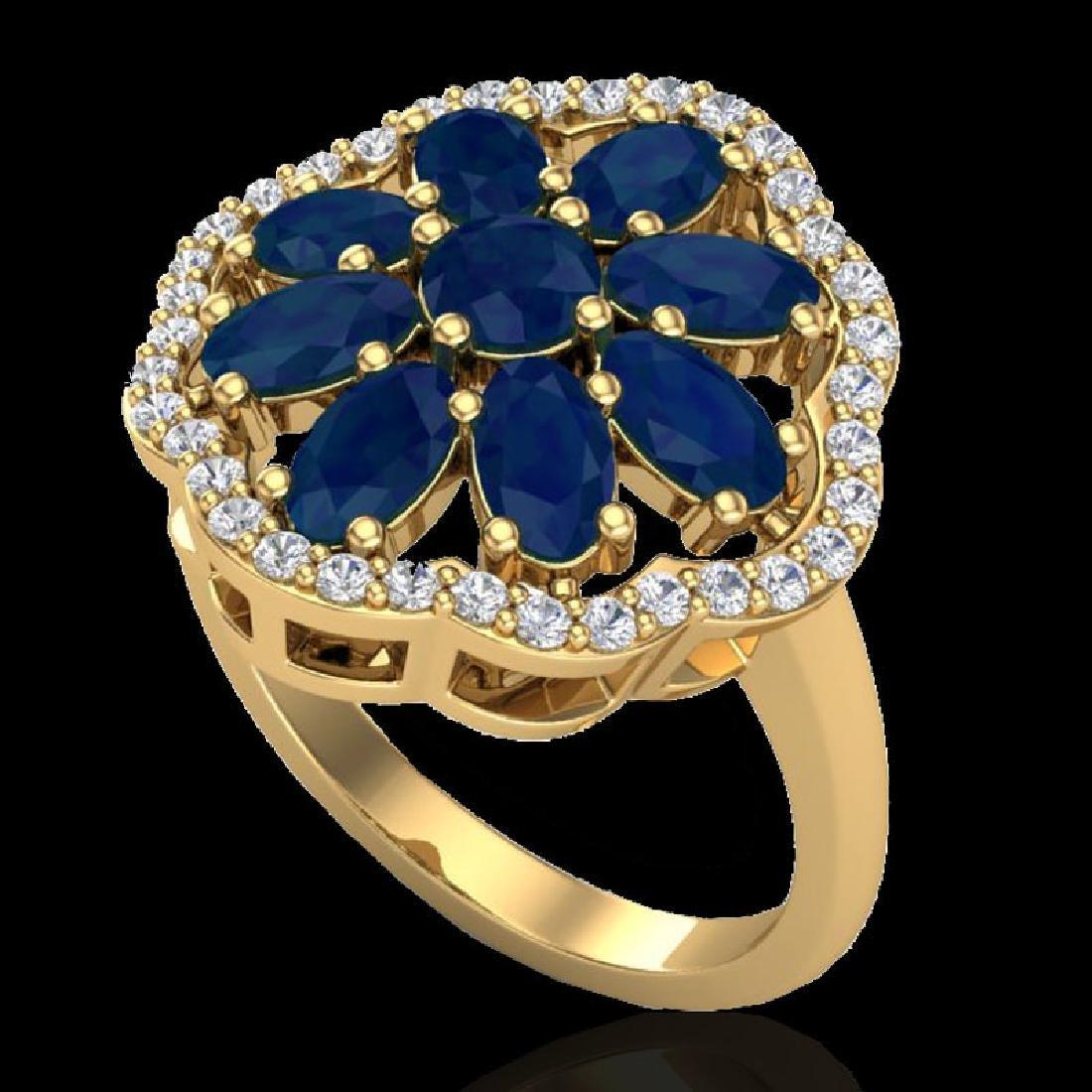4 CTW Sapphire & VS/SI Diamond Cluster Designer Halo