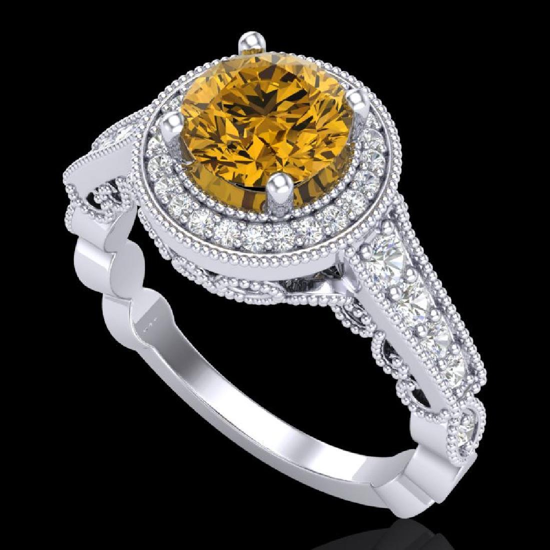 1.91 CTW Intense Fancy Yellow Diamond Engagement Art