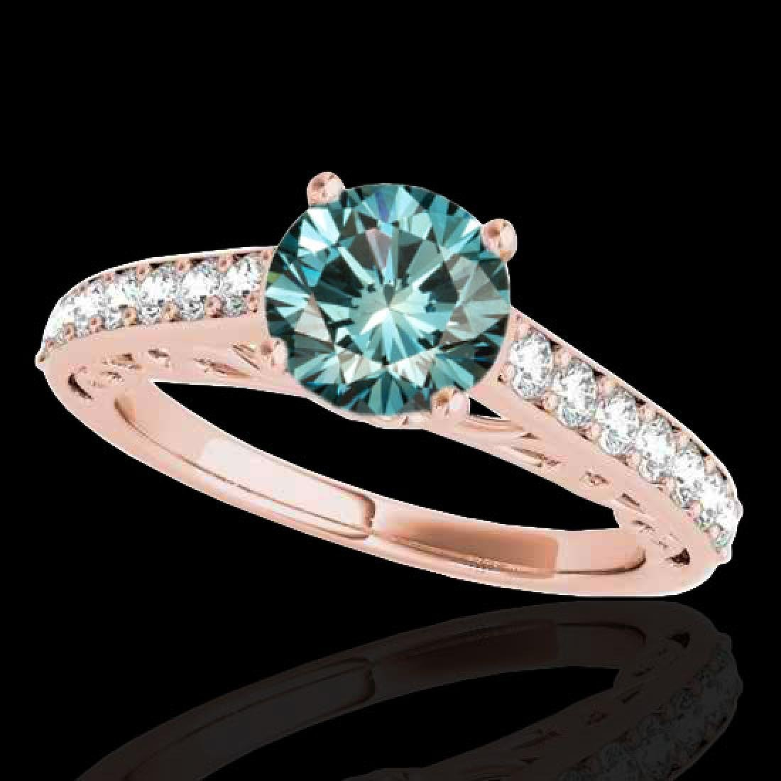 1.65 CTW SI Certified Fancy Blue Diamond Solitaire Ring