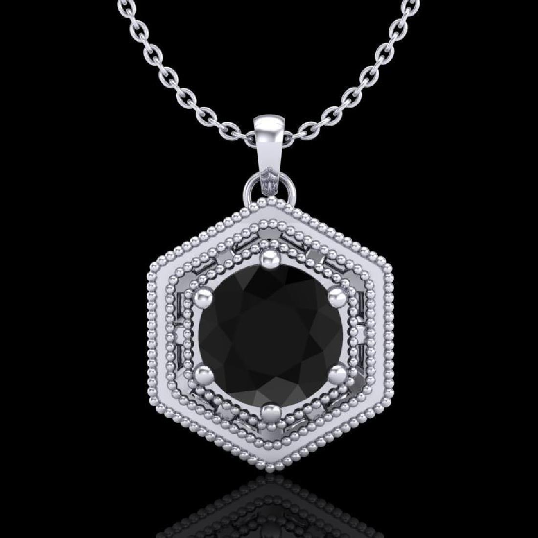 0.76 CTW Fancy Black Diamond Solitaire Art Deco Stud