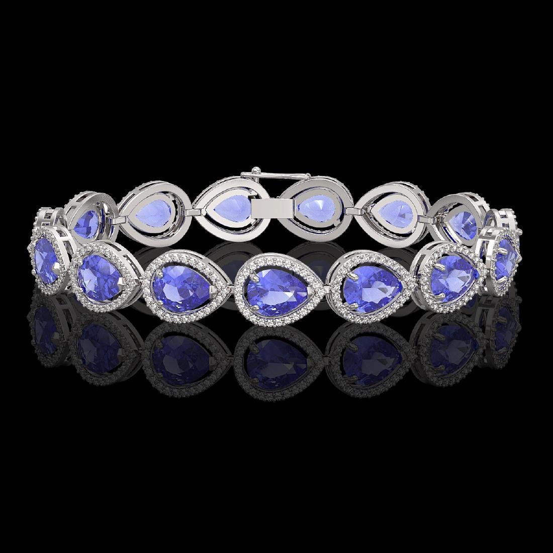 21.06 CTW Tanzanite & Diamond Halo Bracelet 10K White