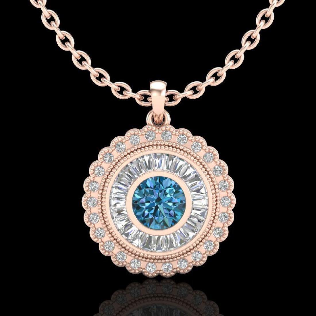 2.11 CTW Fancy Intense Blue Diamond Solitaire Art Deco