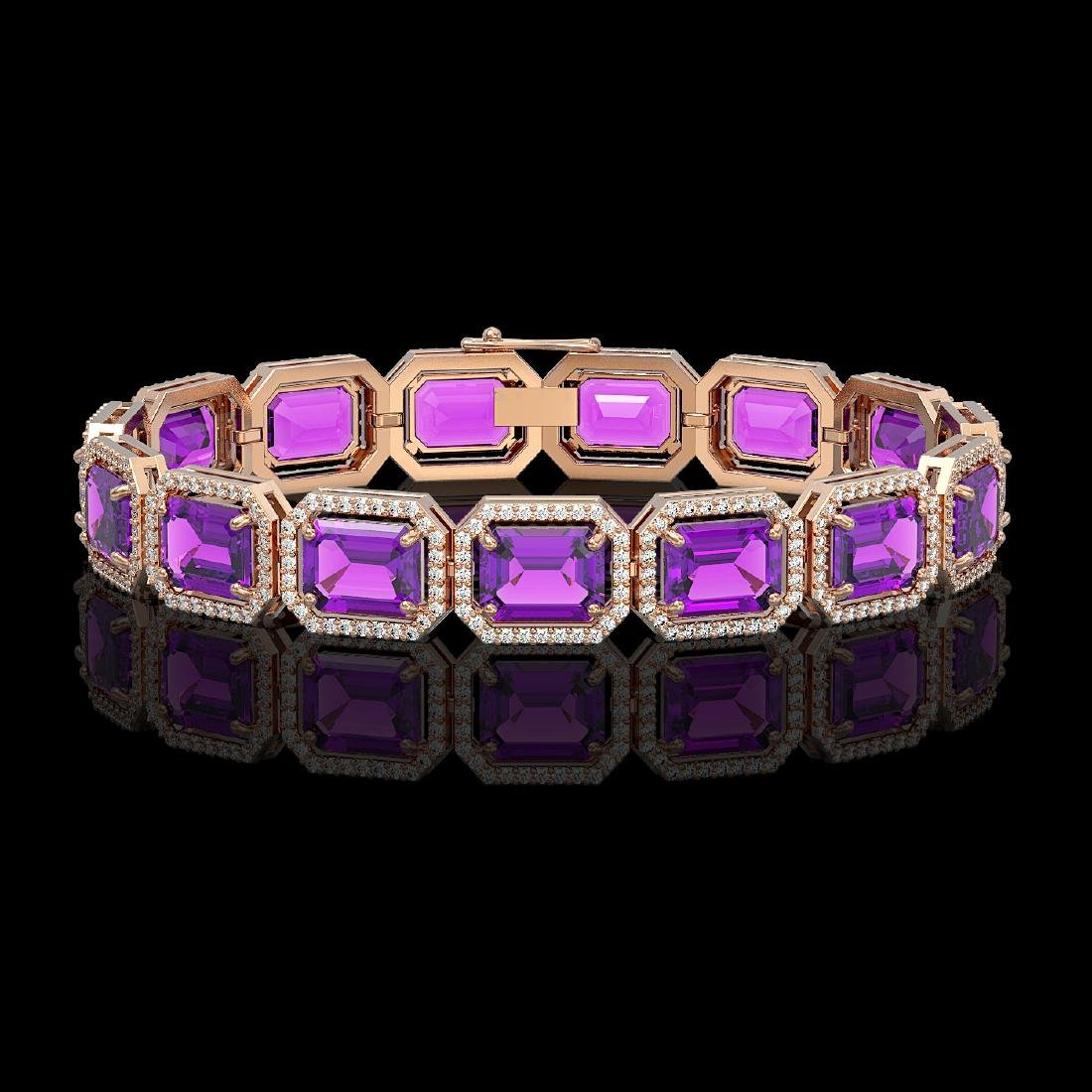 34.86 CTW Amethyst & Diamond Halo Bracelet 10K Rose