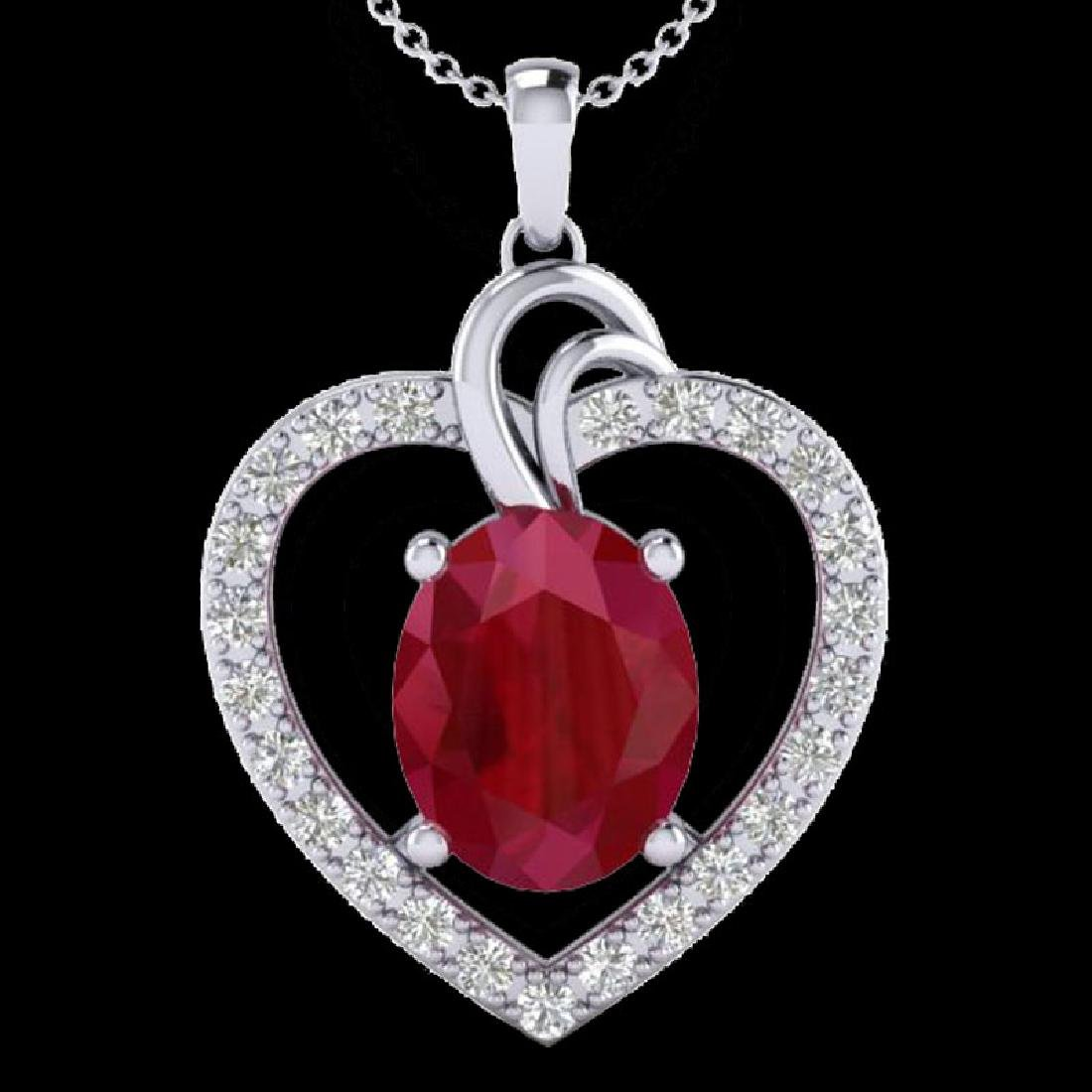 4 CTW Ruby & VS/SI Diamond Designer Heart Necklace 14K