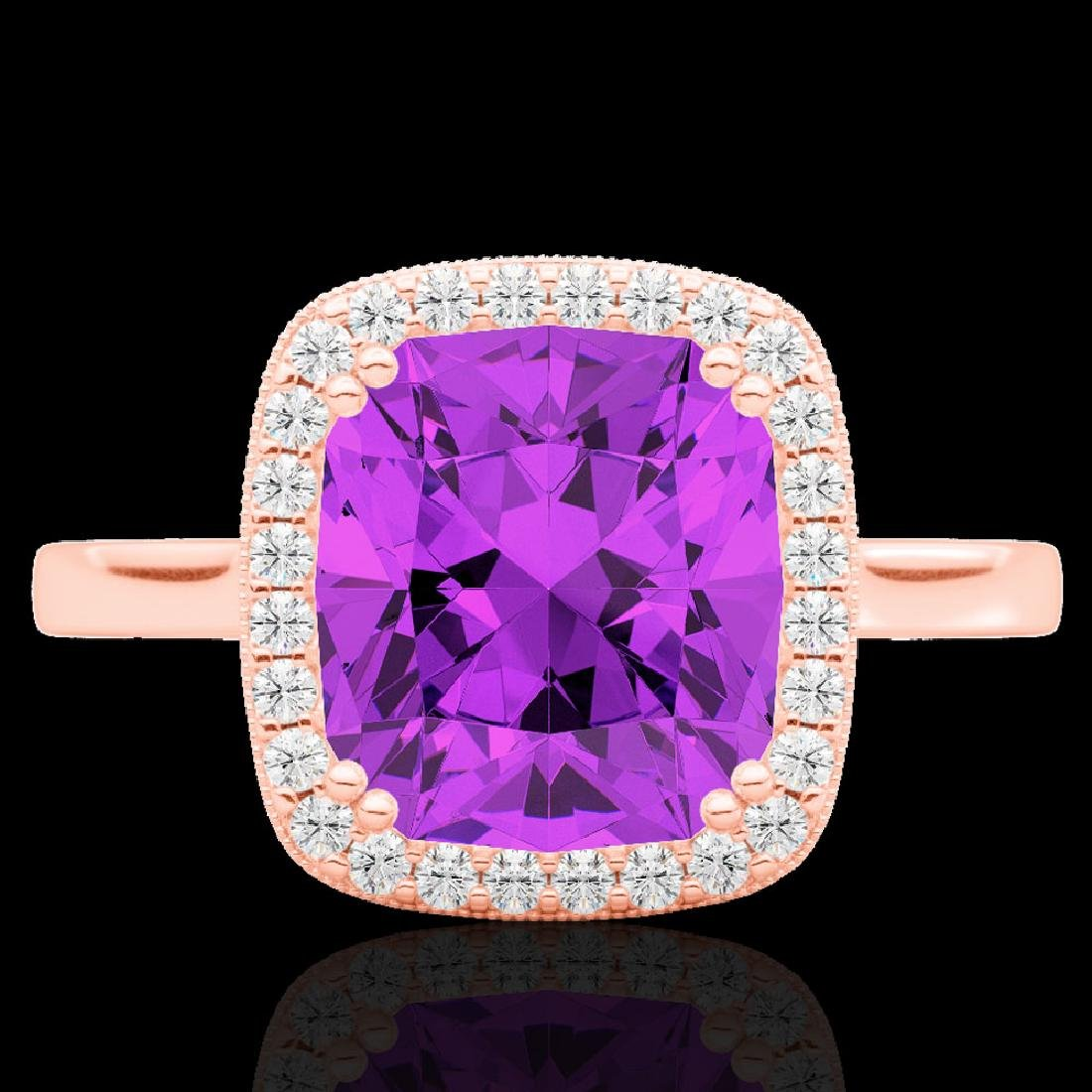 2.75 CTW Amethyst & Micro Pave VS/SI Diamond Halo