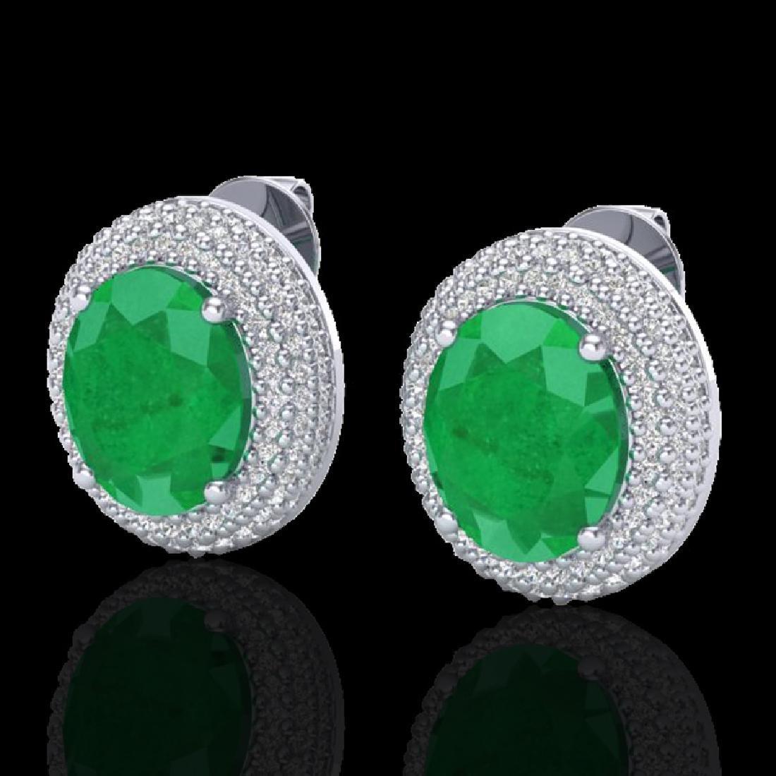 9.20 CTW Emerald & Micro Pave VS/SI Diamond Earrings