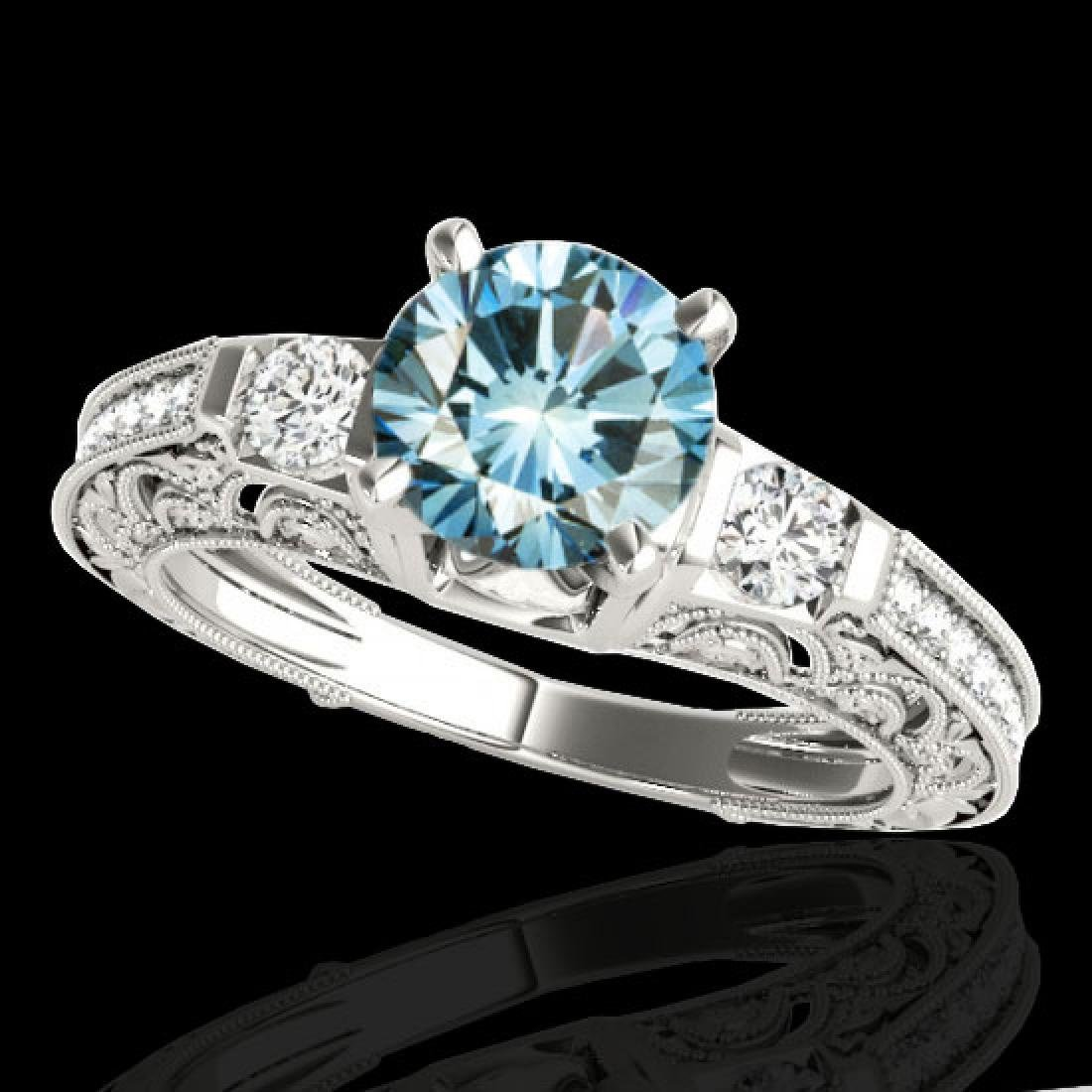 1.38 CTW SI Certified Blue Diamond Solitaire Antique