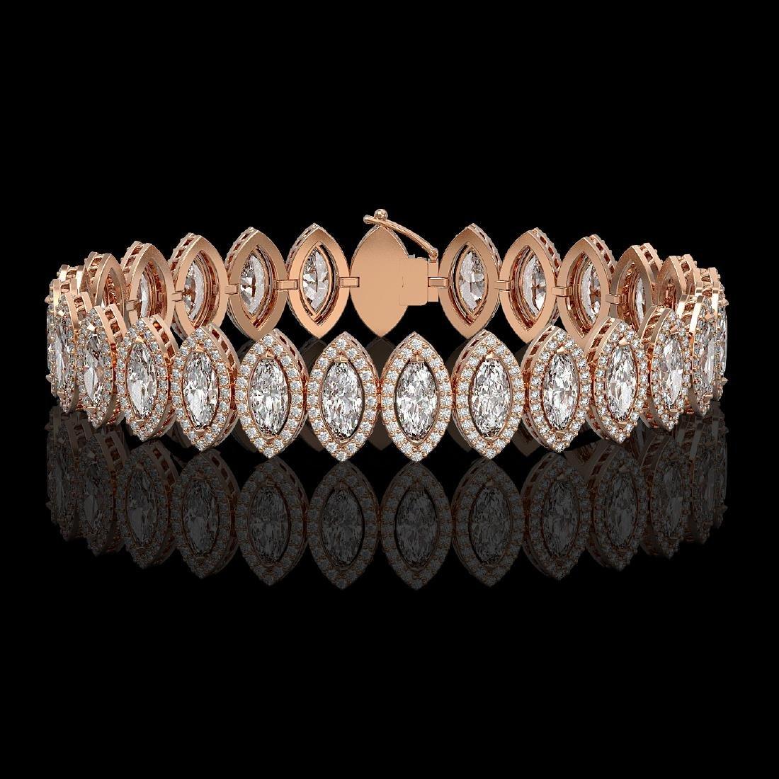 17.55 CTW Marquise Diamond Designer Bracelet 18K Rose