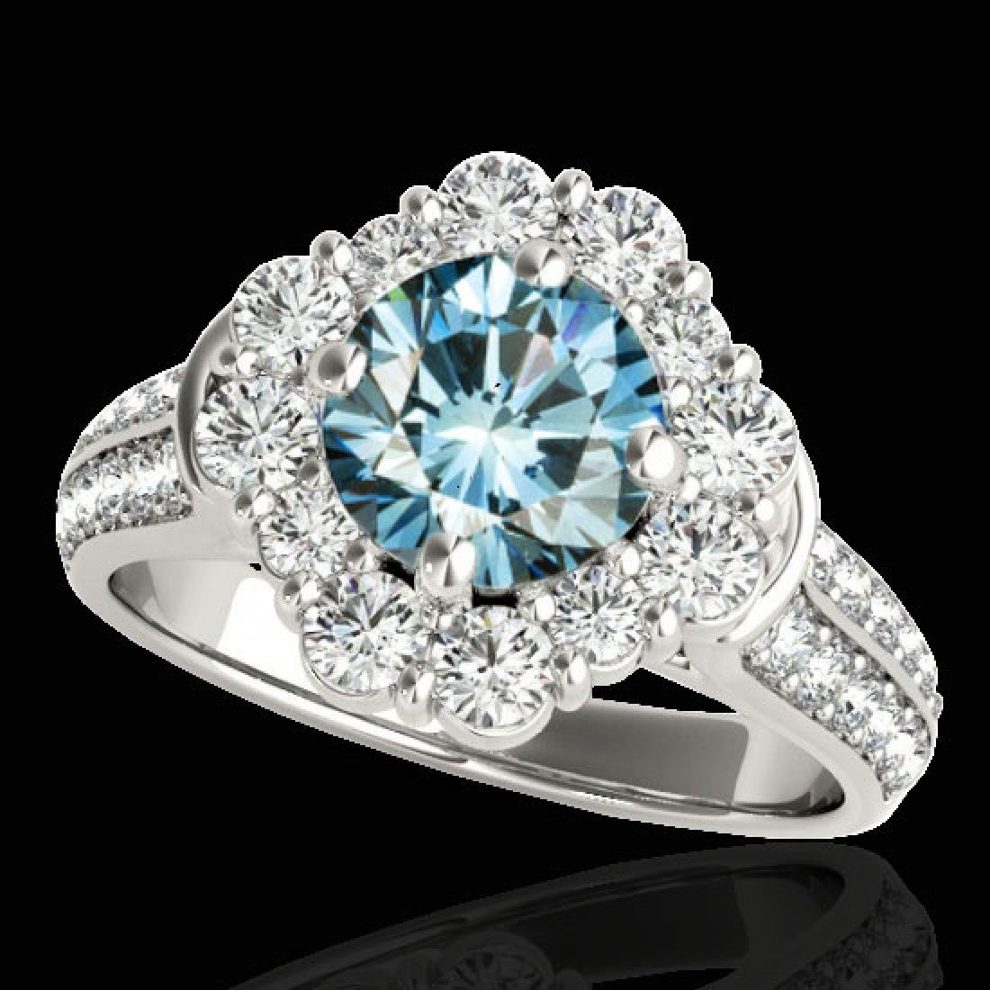 2.81 CTW SI Certified Fancy Blue Diamond Solitaire Halo