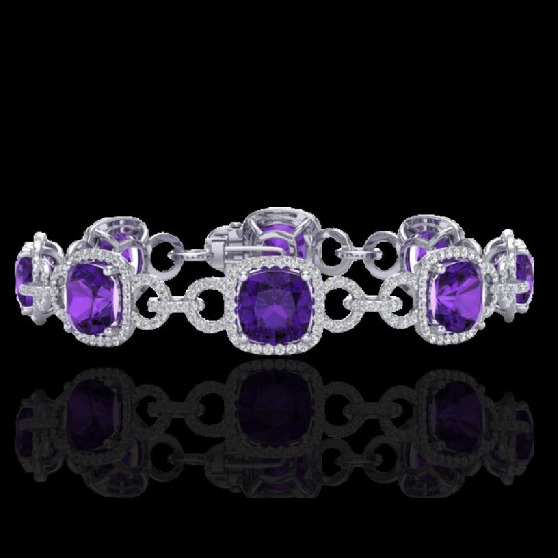 30 CTW Amethyst & Micro VS/SI Diamond Bracelet 14K