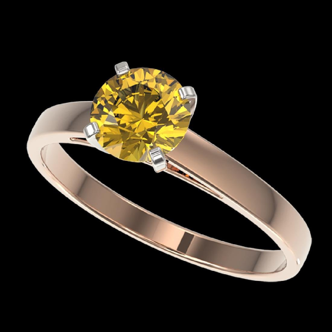 1.02 CTW Certified Intense Yellow SI Diamond Solitaire