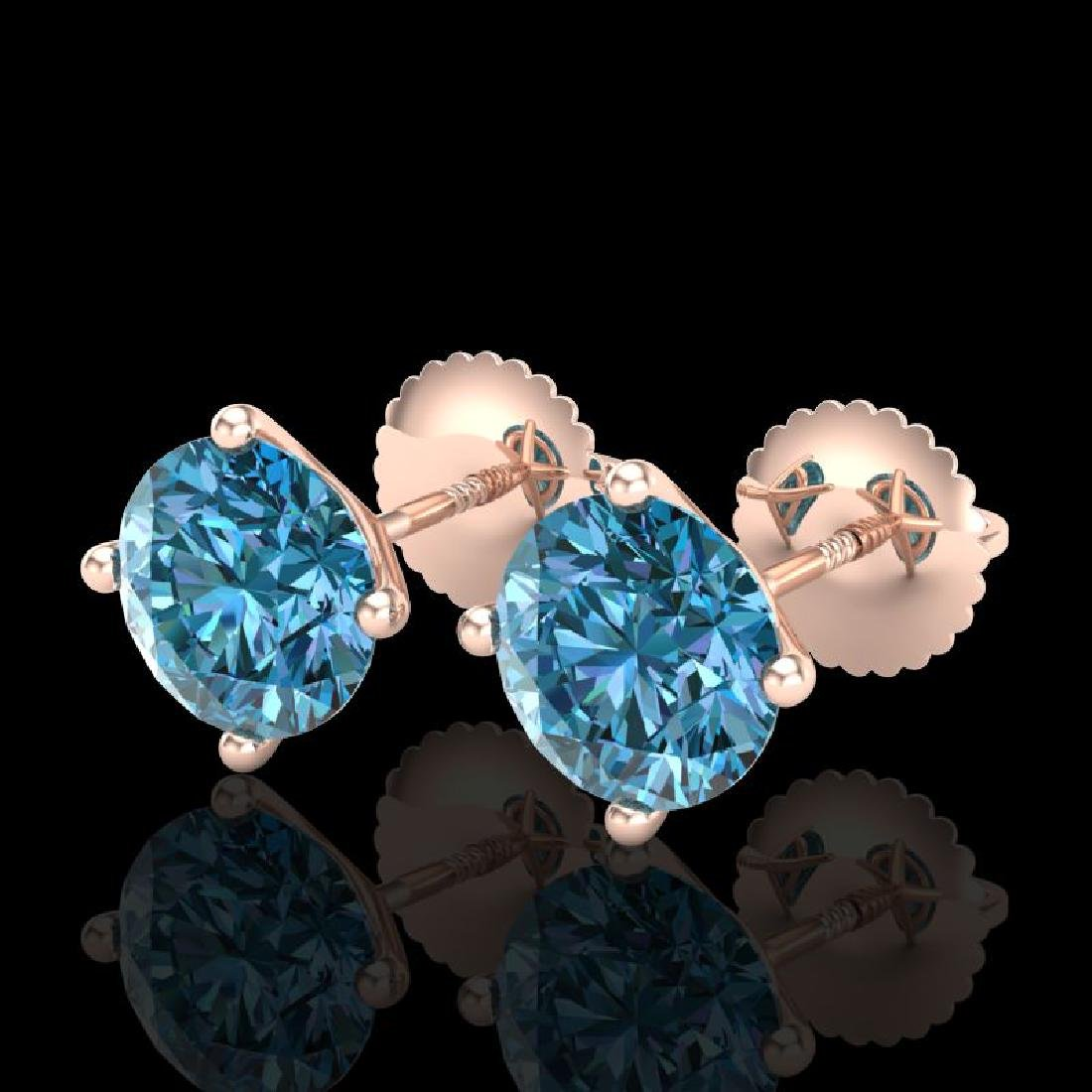 2.5 CTW Fancy Intense Blue Diamond Art Deco Stud