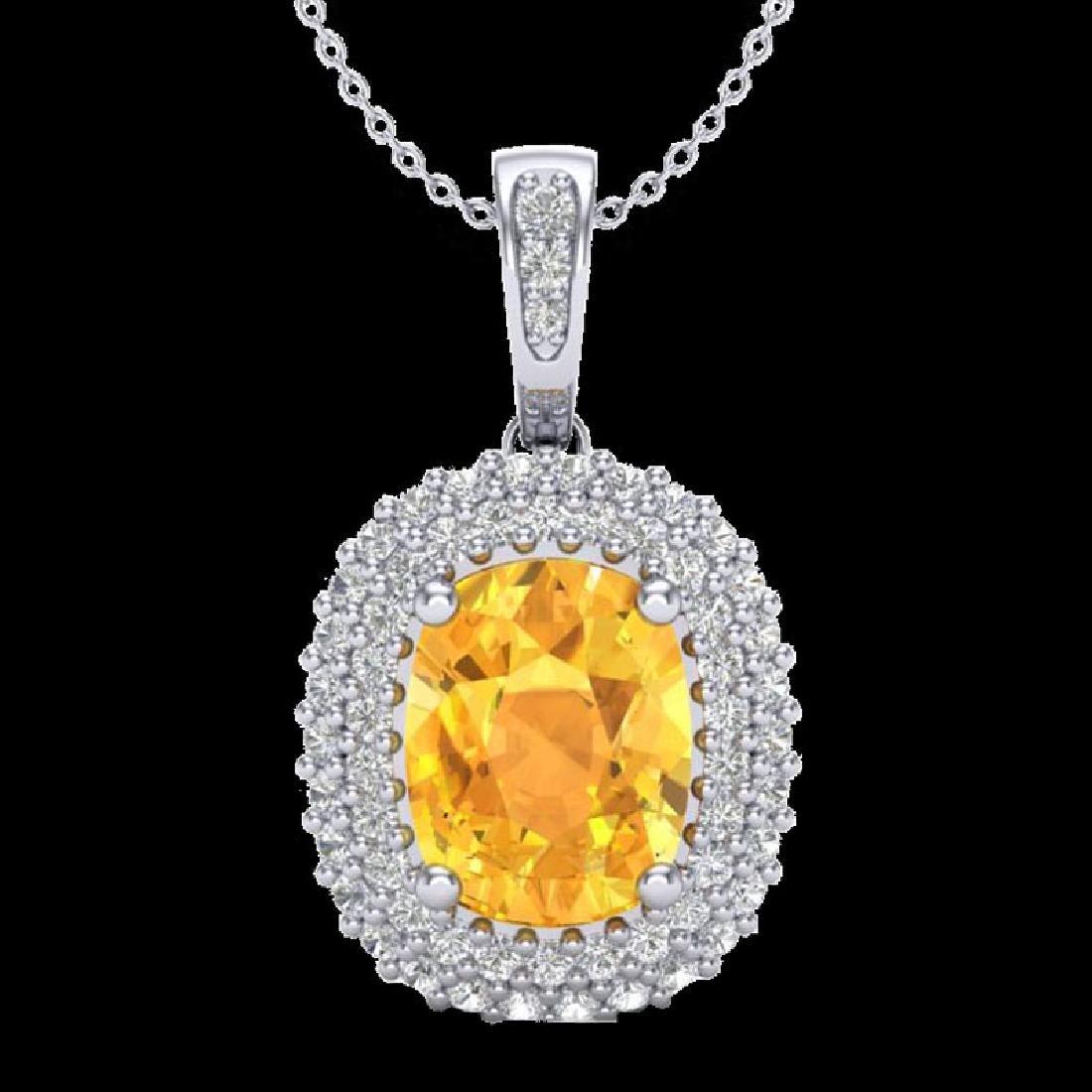 3 CTW Citrine & Micro Pave VS/SI Diamond Halo Necklace