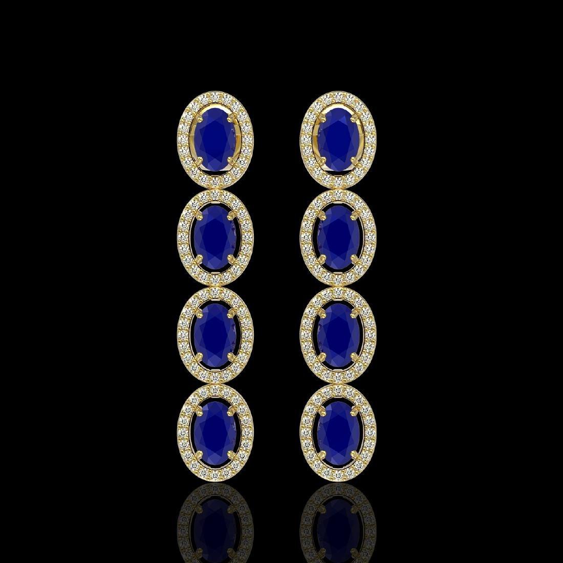6.47 CTW Sapphire & Diamond Halo Earrings 10K Yellow