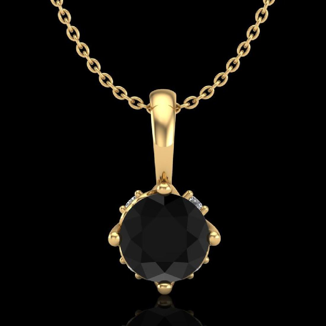 0.62 CTW Fancy Black Diamond Solitaire Art Deco Stud