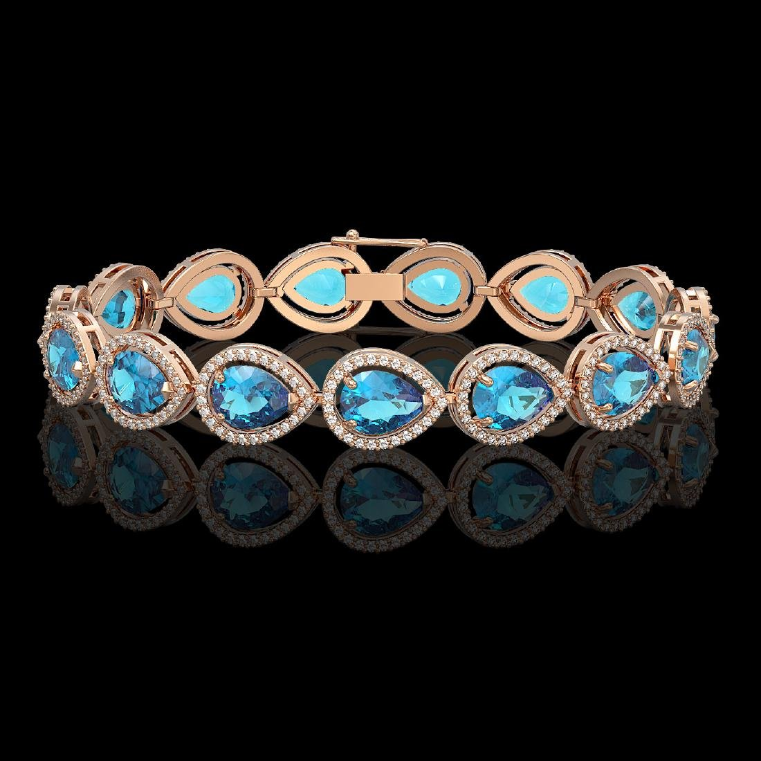 20.3 CTW Swiss Topaz & Diamond Halo Bracelet 10K Rose